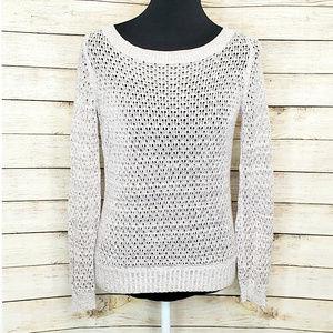 Anthro Guinevere Metallic Open Knit Hemp Sweater